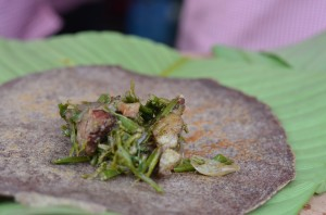 Millet crepe with fern and smoked pork filling