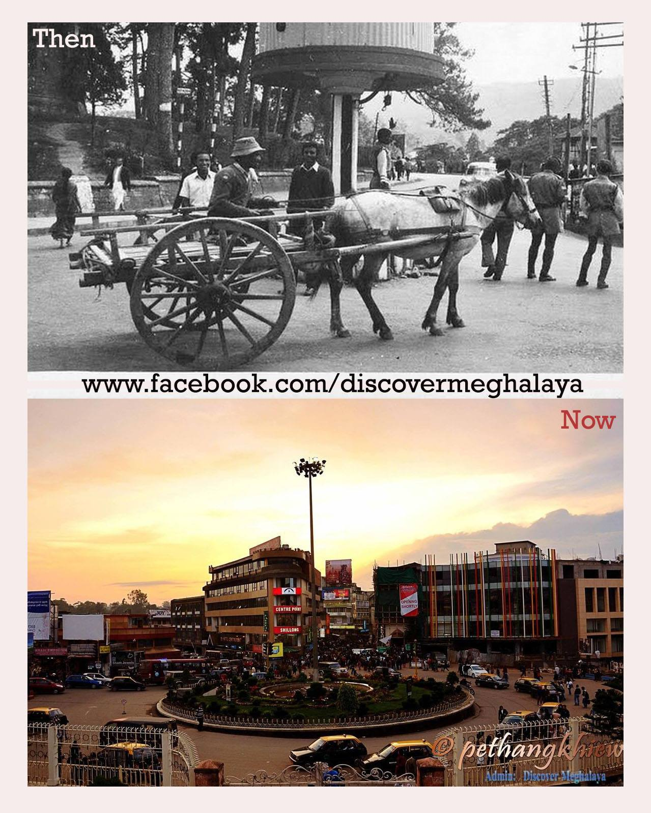 Police Bazar then and now. Photo: Discover Meghalaya