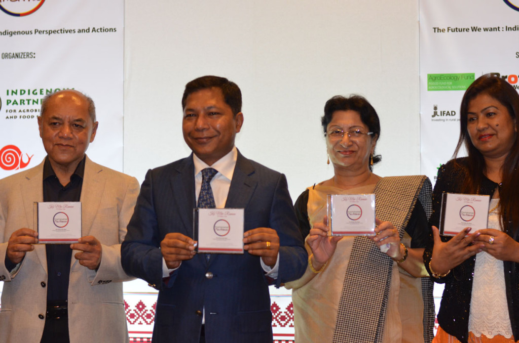 Hon'ble Chief Minister Dr. Mukul Sangmal along with other dignitaries releasing the ITM 2015 Theme Song.