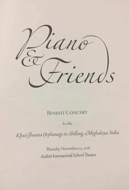 Piano & Friends Program being distributed at the benefit concert